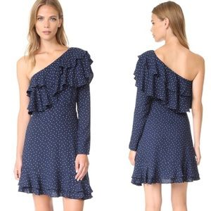 WAYF One Shoulder Navy Polka Dot Dress